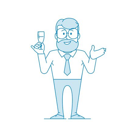 Character - a man in glasses holds a glass of wine in his hand. Says a toast, congratulates, welcomes. Office worker in a shirt with a tie. Illustration in line art style. Vector