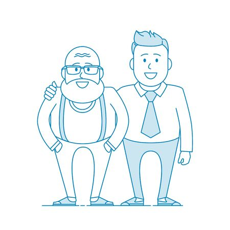 Father and his adult son. Elderly father and adult son together. Cartoon characters. Illustration in line art style. Vector