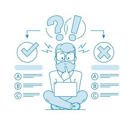 The concept of choosing the right answer. Character - a man with a beard and glasses using a computer passes the test. Exam. Evaluation Testing. Illustration in line art style. Vector