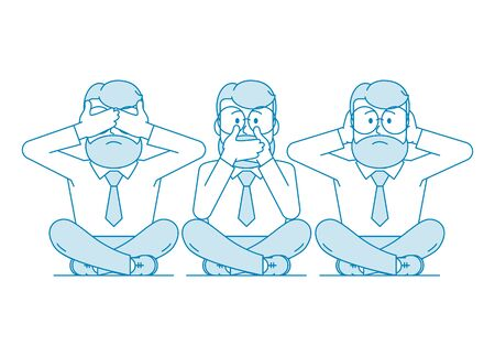 Three wise monkeys. One man covers his mouth with his hands, the other covers his ears, the third eyes. Character - a man with a beard and glasses. Illustration in line art style. Vector