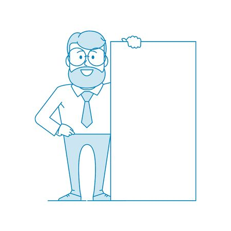 Character - a man in glasses holds a banner with his hand. Shows a poster, message. Place for text. Office worker in a shirt with a tie. Illustration in line art style. Vector