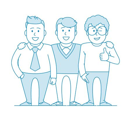 Three friends or colleagues are standing together. Photo for memory. Team of specialists. Happy to be together. Illustration in line art style. Vector