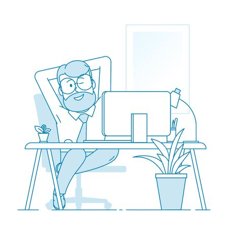 A contented man sits comfortably stretched out in an armchair. A man winks pleased with his work. Modern comfortable office. Character - a man with a beard and glasses. Vector in line art style