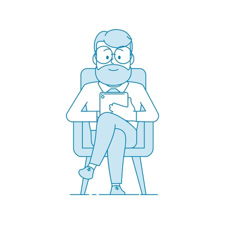 Smiling man sitting in a chair and looking at a tablet computer. Reads news, a book or does business. Character - a man in glasses and with beard. Office worker. Illustration in line art style. Vector Vektorové ilustrace