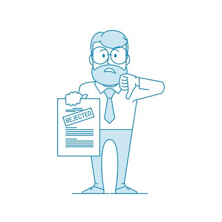 Dissatisfied man shows a document with a rejected inscription. Denial of permission. Character - a man in glasses and with beard. Office worker. Illustration in line art style. Vector Vektorgrafik