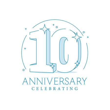 Anniversary 10. 3d number twenty with sparkles. In line art style. 10th anniversary poster template. Solemn figure for presentation. Vector illustration