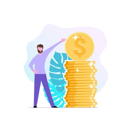 Financial consultant or investor points to a stack stack of coins. Successful businessman or modern entrepreneur. Services Financial consulting and savings. Illustration in flat style. Vector Illustration