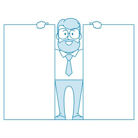 Happy man shows two banners. Design for comparing device specifications. Character - a man in glasses and with beard. Office worker in a shirt with a tie. Illustration in line art style. Vector