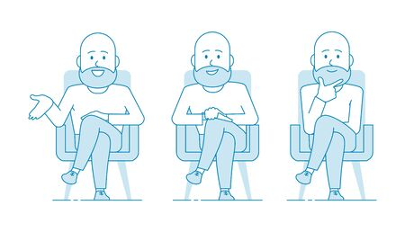 A bald man consultant or psychotherapist is sitting in a chair. Several variants. Listens attentively and gives advice or advice. Illustration in line art style. Vector
