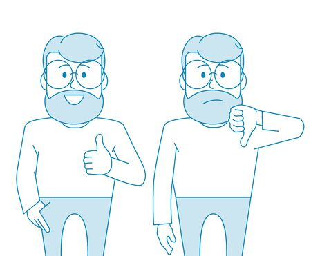 Character - a man with glasses and a beard. Like and dislike. For better or worse, approval and condemnation. Manager or office worker. Illustration in line art style. Vector