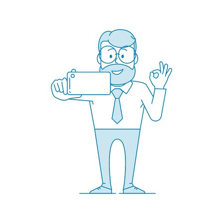 Happy man office worker makes selfie. The gesture is all ok. Character - a man with glasses and with beard. Illustration in line art style. Vector