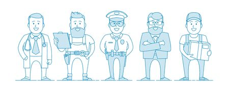 People are different professions. Labor Day. Doctor, builder, policeman, teacher, courier. Illustration in line art style. Vector