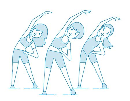 Aerobics. Train create a beautiful figure. Pulling muscles of women. Dropping excess fat. Vector illustration.