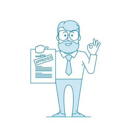 Happy man shows a document with the inscription approved. Getting permission. Character - a man in glasses and with beard. Office worker in a shirt with a tie. Illustration in line art style. Vector