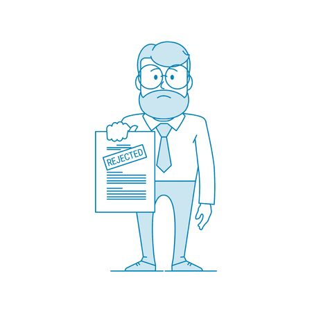 Dissatisfied man shows a document with a rejected inscription. Denial of permission. Character - a man in glasses and with beard. Office worker. Illustration in line art style. Vector Vecteurs