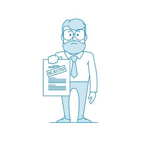 L'homme insatisfait montre un document avec une inscription rejetée. Refus d'autorisation. Caractère - un homme à lunettes et à barbe. Travailleur de bureau. Illustration dans le style d'art en ligne. Vecteur Vecteurs