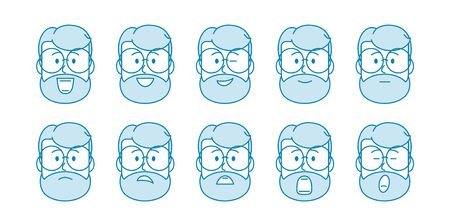 Line Set of people icons. Male character with different emotions. men's faces express joy, sadness, smile, discontent, boredom. Avatar for social networks, applications, web. Vector illustration