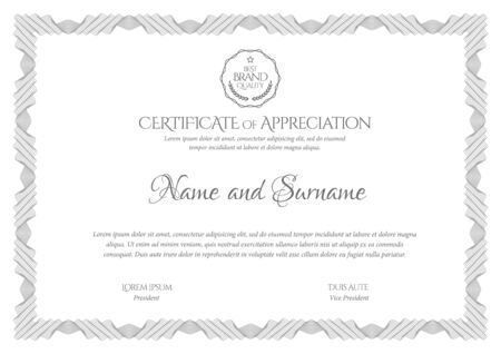Certificate Template. Diploma of modern design or gift certificate. Frame from guilloche pattern. Elegant and expensive design. Vector illustration. Vector Illustratie