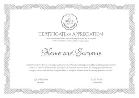 Modèle de certificat. Diplôme de design moderne ou certificat-cadeau. Cadre de motif guilloché. Design élégant et cher. Illustration vectorielle. Vecteurs