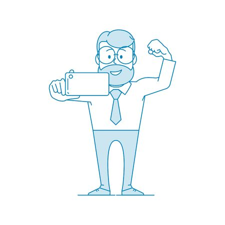 Happy man office worker makes selfie showing his muscles. Character - a man with glasses and with beard. Illustration in line art style. Vector