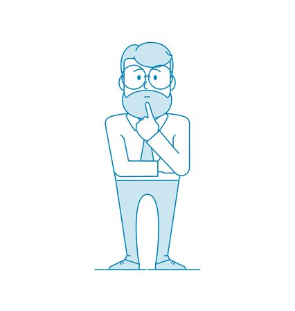 Character is a man stands pondering a problem. A gesture of pondering or thinking. Manager or office worker in a shirt with a tie. Illustration in line art style. Vector Ilustração
