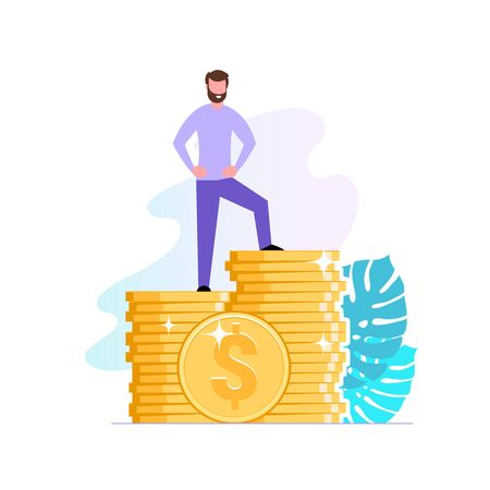 Financial consultant or investor stands on a stack of coins. Successful businessman or modern entrepreneur. Services Financial consulting and savings. Illustration in flat style. Vector