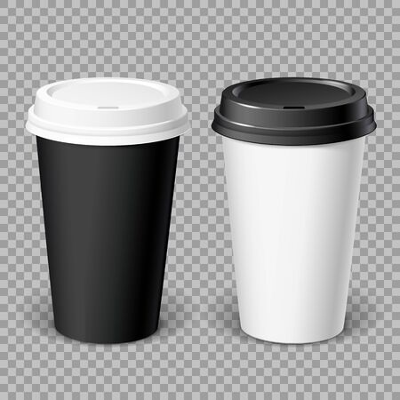 Realistics Black and white Disposable papers Cups. For various hot drinks, coffee, cappuccino, cacao or tea. Mockup for brand template. vector illustration. Vettoriali