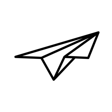 Paper plane. Icon in art line style. The concept of delivery or sending messages. Vector illustration