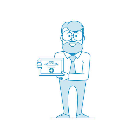 Happy man holding certificate. Certification confirmation. Character - a man in glasses and with beard. Office worker in a shirt with a tie. Illustration in line art style. Vector