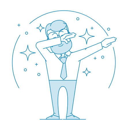 Happy man doing a dub dance move. Character - a man in glasses and with beard. Office worker in a shirt with a tie. Illustration in line art style. Vector Vector Illustration