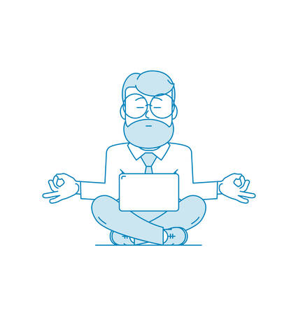 A man is meditating while sitting on the floor with a laptop. Character - a man with a beard and glasses. Calmness and relaxation, relaxation. Stress relief. Illustration in line art style. Vector