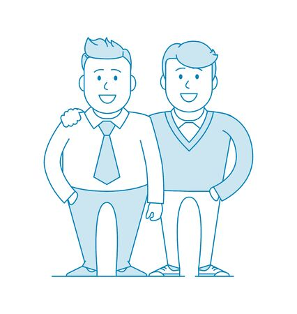 Two friends or colleagues are standing together. Photo for memory. Team of specialists. Happy to be together. Illustration in line art style. Vector