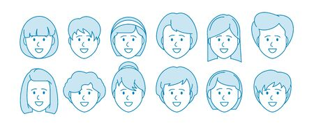 Line icon set of people. Female characters. Avatar for social networks, applications, web design. Vector illustration Çizim