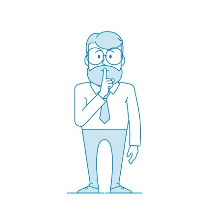 Man shows gesture quietly. Character - a man in glasses and with beard. Office worker in a shirt with a tie. Illustration in line art style. Vector