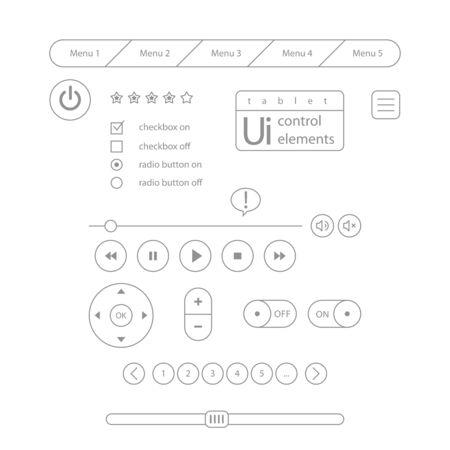 Web UI Elements Design Gray. Elements Buttons, Switchers, Slider