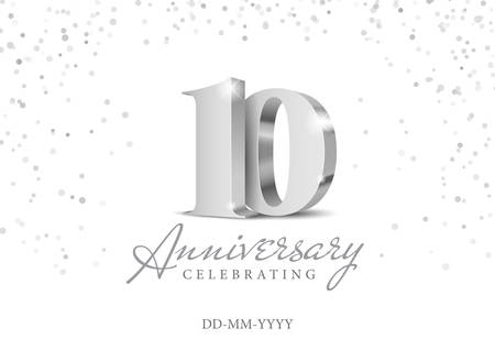 10 Years Anniversary Celebration. Silver 3d numbers. Poster template for Celebrating 10th anniversary event party. Vector illustration