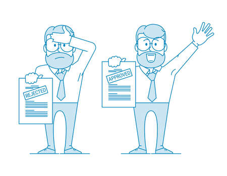 Man shows a document. Variant with an approved inscription and rejection. Getting permission. Character - a man with glasses and a beard. Office worker. Illustration in line art style.