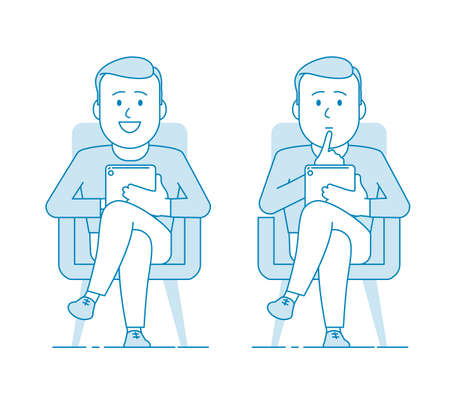 A man consultant or psychotherapist is sitting in a chair and holding a tablet. Several variants. Listens attentively and gives advice or advice. Illustration in line art style. Vector Illustration