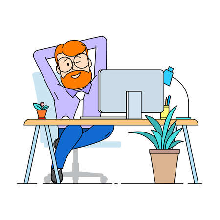 A contented man sits comfortably stretched out in an armchair. A man winks pleased with his work. Modern comfortable office. Character - a man with a beard and glasses. Vector in flat style