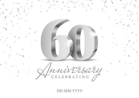 60 Years Anniversary Celebration. Silver 3d numbers. Poster template for Celebrating 60th anniversary event party. Vector illustration
