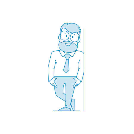 Man is leaning against the wall. Man with glasses and a beard holds his chin with his hand. Manager or office worker in a shirt with a tie. Illustration in line art style. Vector