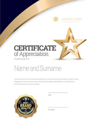 Certificate template. Diploma of modern design or gift certificate. Vektorgrafik