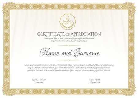 Certificate template. Diploma of modern design or gift certificate.