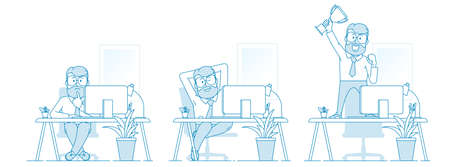 The working process. Stages of work or task. Misunderstanding, deliberation, creation, success. Character - a man with a beard and glasses works at a laptop. Illustration in line art style. Vector