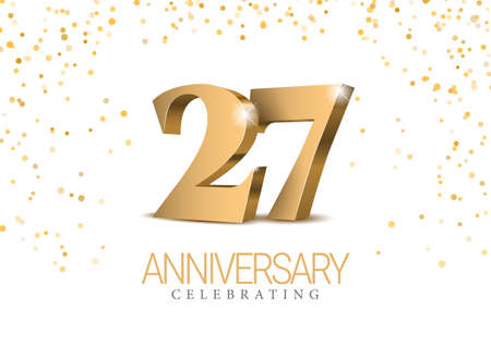 Anniversary 26. gold 3d numbers.