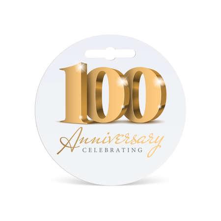 Anniversary 100. gold 3d numbers. Illusztráció