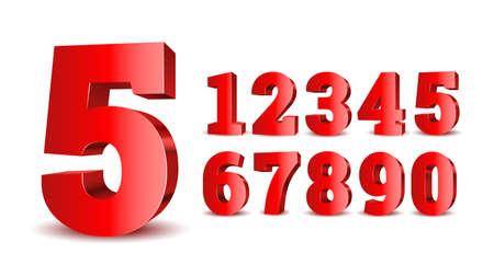 Red 3d numbers. Symbol set. Vector illustration