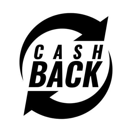 Money cash back icon. Black and white emblem.
