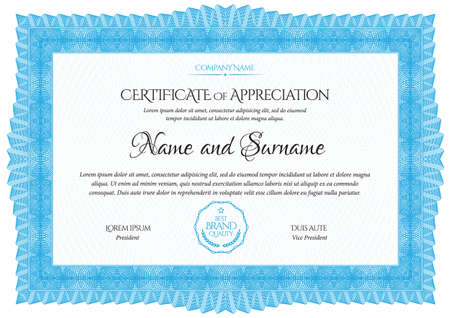 Certificate Template. Diploma of modern design or gift certificate. Frame from guilloche pattern. Elegant and expensive design. Vector illustration. Vettoriali