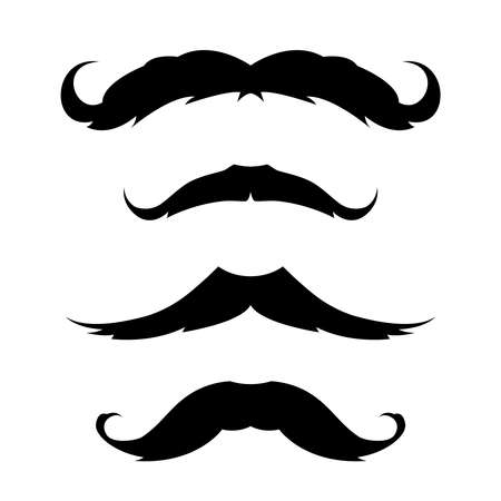 Set of mustache Icon. Black and white emblem. Ilustración de vector